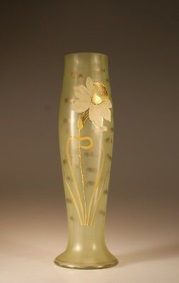 Wonderful Large Vintage Czech Glass Green Vase Handpainted Daffodil  c.1930