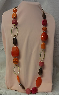 Vintage 60's Long Large Beads Between Gold Tone Chain Fashion Hippy Necklace