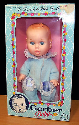 "1989 Gerber Baby 11"" Drink & Wet Vinyl Baby Doll - Mint in Box"
