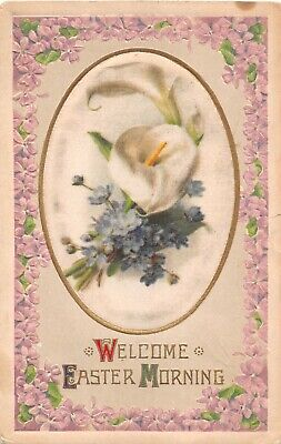 Violet Borders Around Calla Lilies & Violets Printed on Silk Oval-Old Easter PC