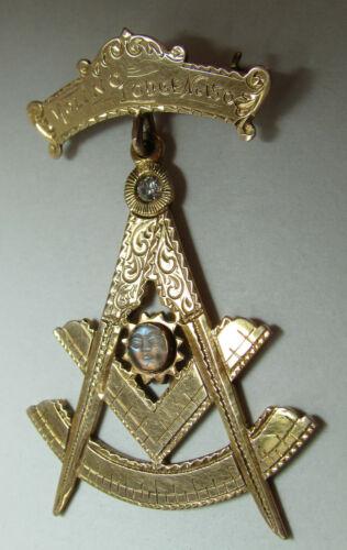 ESTATE 1914-1918 Masonic Molino Lodge 150 14kt Gold & Diamond Freemason Medal