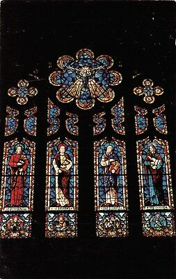 Mason City Iowa~4 Apostles Figures on Stained Glass Window~Holy Family Catholic ()