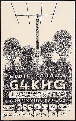 1992 QSL Ham Radio Card G4KHG Newton England UK Nice Design And Illustration