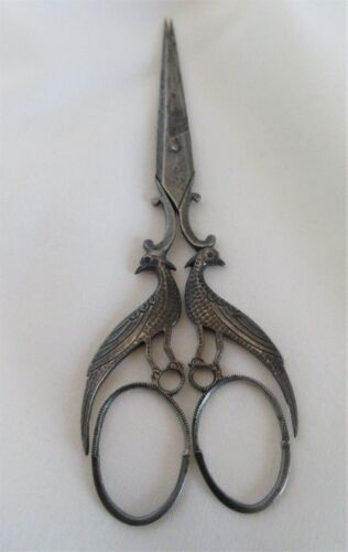 ANTIQUE,19th C,FRENCH, DELICATE & BEAUTIFUL STEEL embroidery scissors,PHEASANT