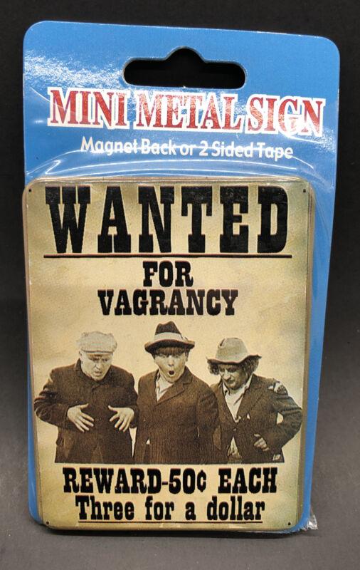 3 Stooges Mini Metal Sign Magnet Back Or 2 Sided Tape