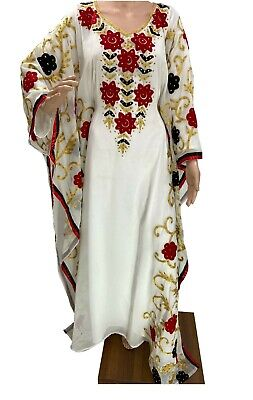 MOROCCAN WHITE GEORGETTE DUBAI KAFTANS ABAYA DRESS VERY FANCY LONG GOWN MS 0507
