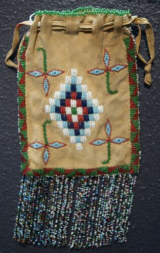 Vintage Apache Indian Beaded On Both Sides Fringed Hide Pouch