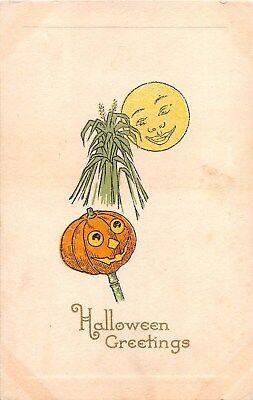 c.1913 Jack O Lantern Sheath of Wheat & Moon Face Halloween post card - Halloween Jackolantern Faces
