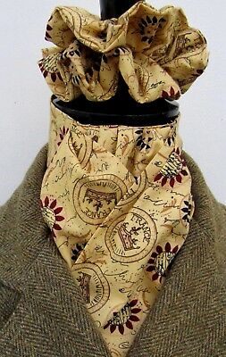 Ready Tied Mustard & Burgundy Design Cotton Riding Stock & Scrunchie - Hunting