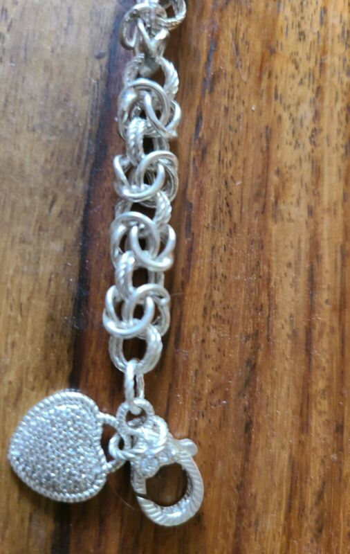 judith ripka bracelet 8 Inch Silver Diamonique Qvc Heart