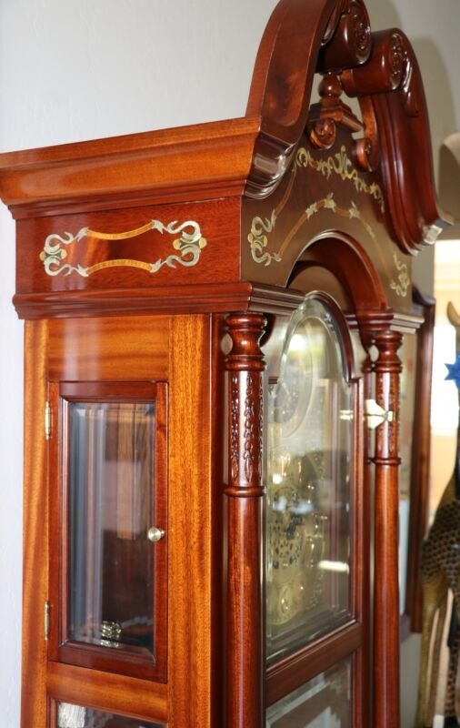 Pearl Commemorative Grandfather Clock solid Mohogany with Mother-of-Pearl inlays
