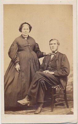 1860s Civil War Decade CDV Man & Wife Albumen Fashion Photo by M Gustin Troy, PA