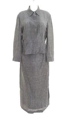 Max Mara Kostüm Gr. DE 40 Damen Blazer Rock Suit Schwarz Grau Leinen