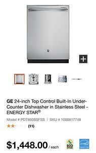 GE 24-inch Top Control Built-In Under-Counter Dishwasher
