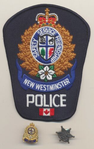 New Westminster British Columbia Canada Police Embroidered Patch Lapel Pins Lot