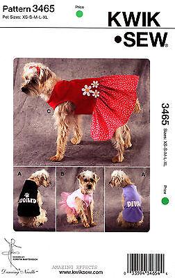 Kwik Sew Sewing Pattern 3465 Dog Clothes XS-XL Shirts Dress pet