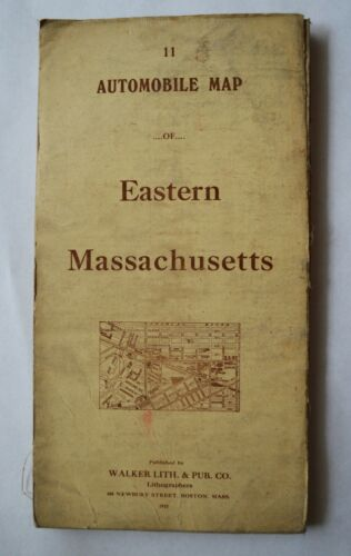 Automobile Map of Eastern Massachusetts 1915 Walker Lith.& Pub.Co.Boston