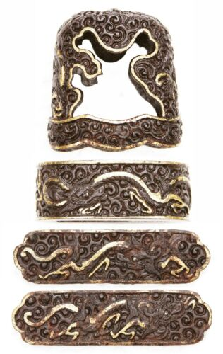 Very Rare Antique Japanese Iron Pair Namban Menuki Fuchi Kashira Dragon Samurai