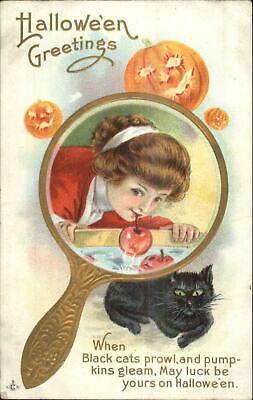 Black Halloween Apples (Halloween Beautiful Woman Bobbing For Apples Black Cat Stecher 248A)