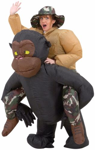 Funny Instant Costume RIDING GORILLA INFLATABLE Ape Rider Airblown Fan Gag-Adult