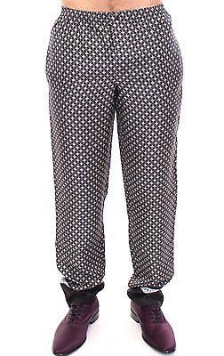 NEW DOLCE & GABBANA Pants Black SILK Pajama Lounge Logo Sleepwear IT3 /XS-S