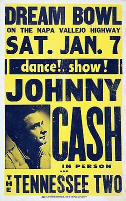 "Johnny Cash Dream Bowl 16"" x 12"" Photo Repro Concert Poster"