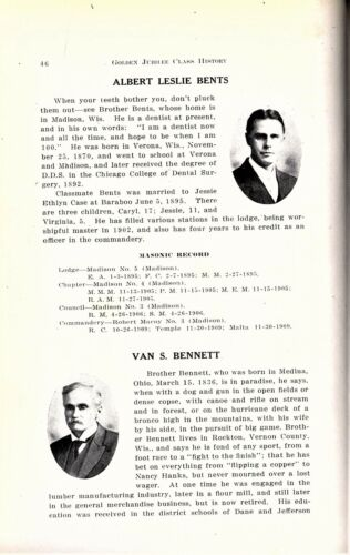 """1913 """"History golden Jubilee Class of the Wisconsin Consistory"""" - NAMES LISTED!"""