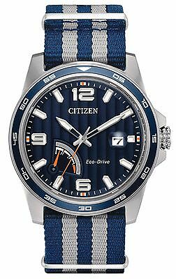 Citizen AW7038-04L Men's Eco Drive PRT Power Reserve Slip-Thru Nylon Strap Watch