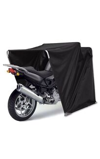 Motorcycle tent shelter storage