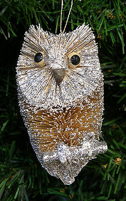NATURAL BURI BRISTLE OWL ON BRANCH w/ SILVER GLITTER CHRISTMAS TREE ORNAMENT ()