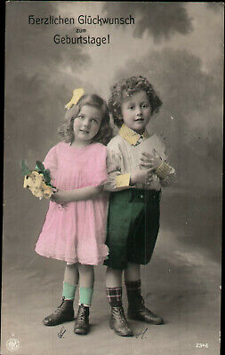 AK Geburtstag Glückwunsch, Foto coloriert,  Kinderpaar,  Kleinformat