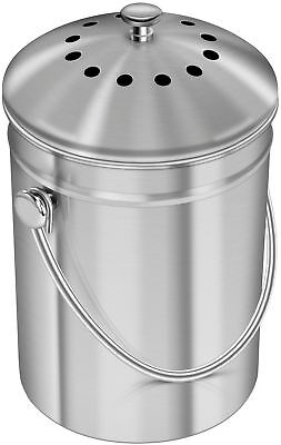 Utopia Kitchen Stainless Steel Compost Bin for Kitchen Countertop - 1.3 Gallon (Countertop Compost)