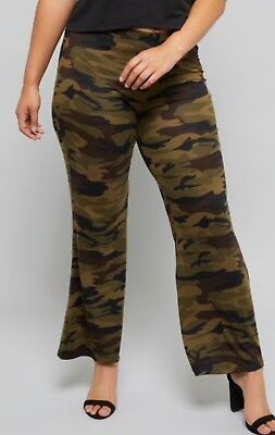 BELL bottom PLUS Buttery Green CAMOUFLAGE long pants flare legs 1X 2X 3X ,12-24 - Plus Size Bell Bottoms