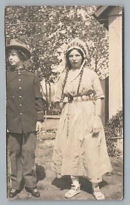 Boys Dressing Up As Girls (Boy & Girl Dressing Up As Army Office & Indian RPPC Costume Native American)