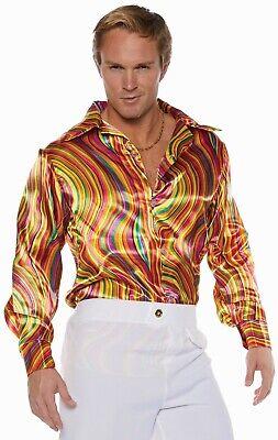 Underwraps Disco Orange Wirbel 70s Tanz Hemd Erwachsene Men Halloween Mode (Disco Mode Kostüm)
