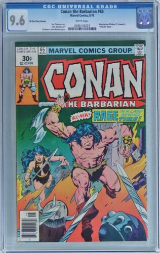 CONAN THE BARBARIAN #65 (1976 Marvel) CGC 9.6 NM+  30 CENT PRICE VARIANT - WHITE
