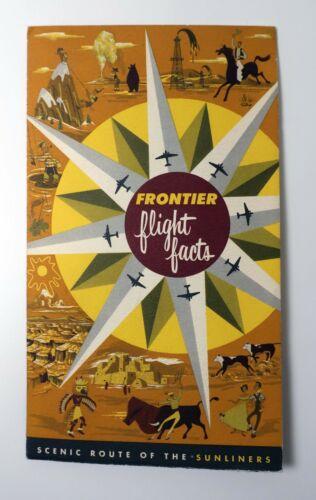 FRONTIER AIRLINES 1955 Travel Lot Brochure Ticket Sticker Schedule Postcard