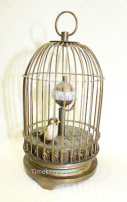 a1114 Vintage Rare Unique Working Brass Bird Cage Mechanical Table Clock 5""