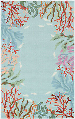 Tropical Coastal Sea Coral Fish Underwater Hooked Area Rug **FREE SHIPPING** Polyester Tropical Rug