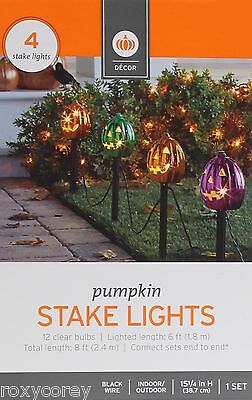 Halloween Driveway Lights (Halloween 4 Metallic Pumpkin Stake Light Pathway Driveway Lighted Length 6)