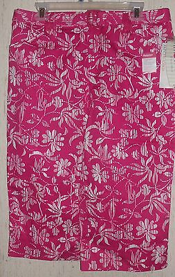 Womens White Stag Stretch Pink & White Floral Print Capris Size 10