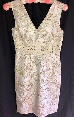 Vivienne Tam Designer Dress V-Neck White w/Gold Brocade Sleeveless Dress Size 0](Brocade Dress Designs)