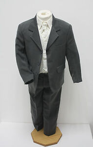 Boys-Suits-5-Piece-Grey-Ivory-Suit-Wedding-Page-Boy-Baby-Formal-Party-Smart