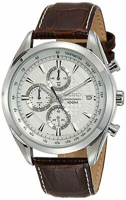 Seiko Chronograph SSB181 Silver Tone Dial Brown Leather Band