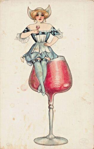 ALCOHOL DRINKS SERIES~CLARET-SAMUEL SCHMUCKER ARTIST FANTASY POSTCARD