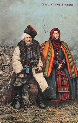 LOWICZ, POLAND, PEASANT MAN & WOMAN IN COSTUME POSING used Feldpost Cancel 1916