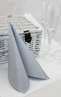 10 Linclass Paper Napkins with the look and feel of linen 40 x 40cm Silver