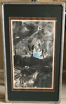 Original Lui Shou-Kwan Chinese Watercolor & Ink Painting Abstract Blue-Gray