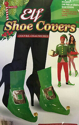 Green Elf Shoe Covers Adult Unisex Christmas Costume Accessory - Elf Shoe Covers