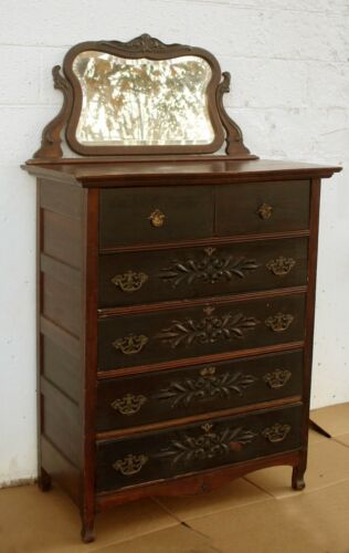 Antique Vintage SOLID Wood Wooden Dresser Highboy Chest Vanity Beveled Mirror